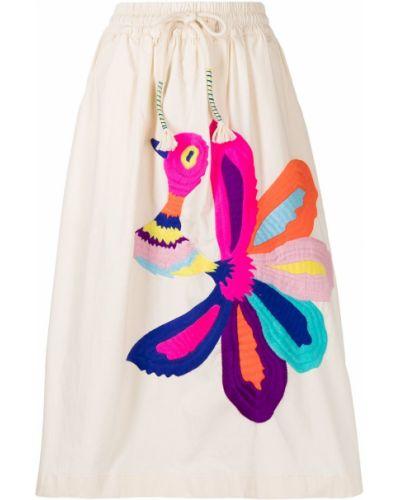 Хлопковая с завышенной талией юбка миди с поясом Mira Mikati