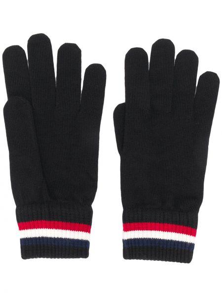 Trykotowy wełniany czarny rękawiczki z paskami Moncler