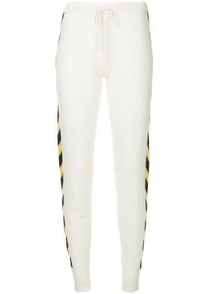 Белые спортивные брюки в рубчик с манжетами узкого кроя Madeleine Thompson