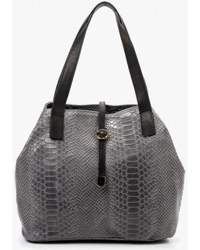 Кожаная сумка серая итальянский Roberta Rossi