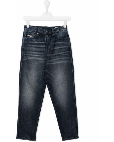 Кожаные прямые джинсы классические с поясом Diesel Kids