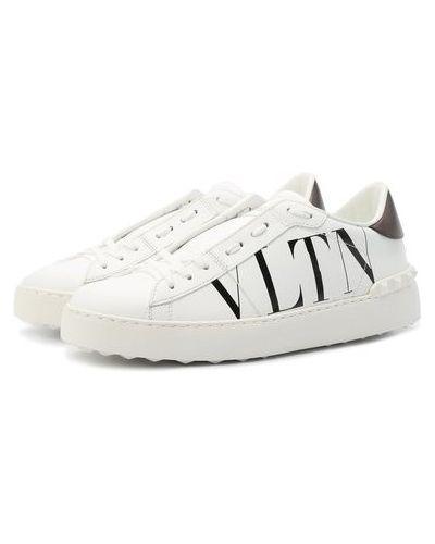 Кожаные белые кеды с подкладкой Valentino