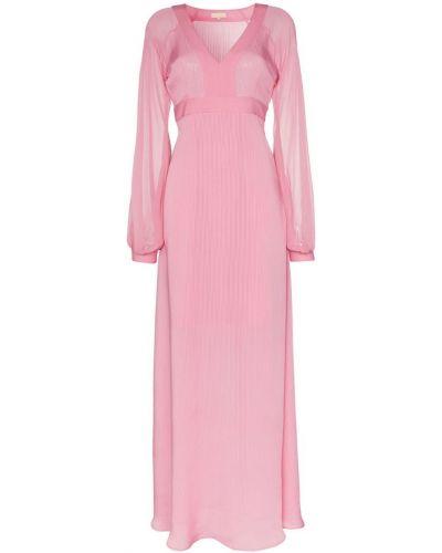 Розовое платье макси на молнии By Timo