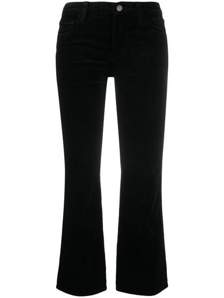 Ватные хлопковые черные укороченные джинсы с карманами J Brand