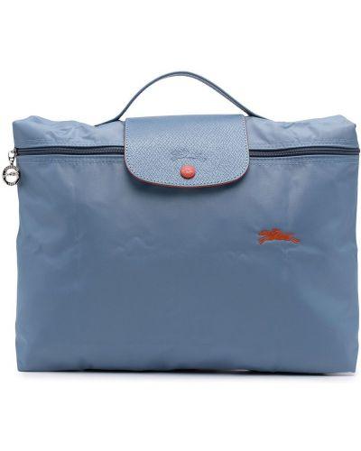 Niebieska teczka z haftem z nylonu Longchamp