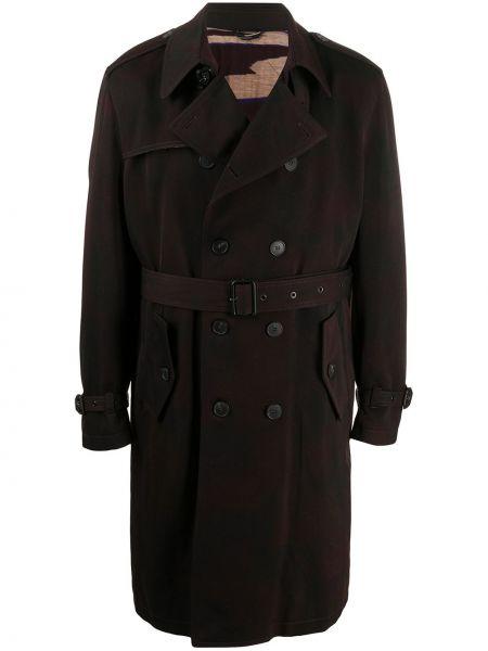 Brązowy wełniany długi płaszcz z kołnierzem z klapami Missoni