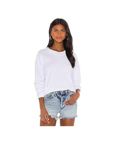 Хлопковый белый свитер крупной вязки Lna