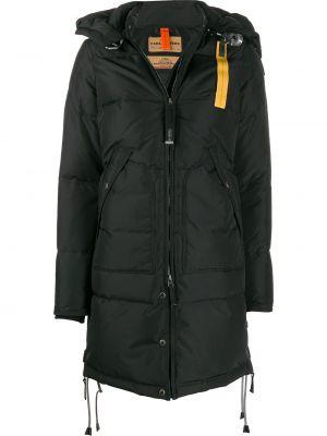 Черное длинное пальто с перьями на молнии с карманами Parajumpers