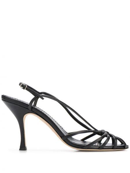 Sandały skórzane na obcasie - czarne Victoria Beckham