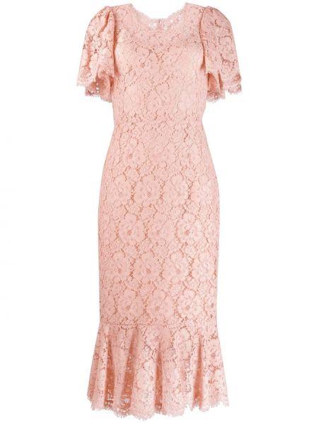 Шелковое розовое кружевное платье мини Dolce & Gabbana