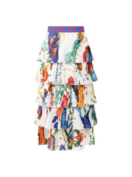 Белая юбка из вискозы с подкладкой Stella Jean