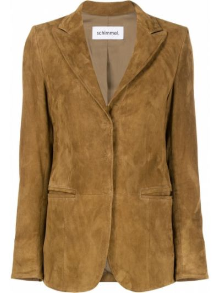Коричневый приталенный кожаный классический пиджак Sylvie Schimmel