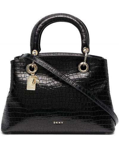 С ремешком черный кожаный сумка на плечо Dkny