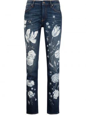Синие джинсы-скинни с нашивками в цветочный принт Ralph Lauren Collection