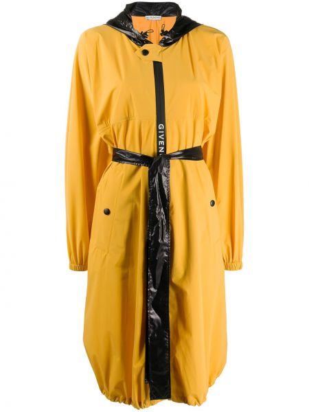 С рукавами желтое длинное пальто с капюшоном Givenchy