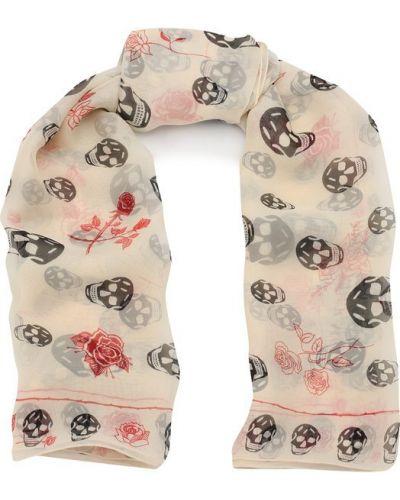 Белый шарф узкий Alexander Mcqueen