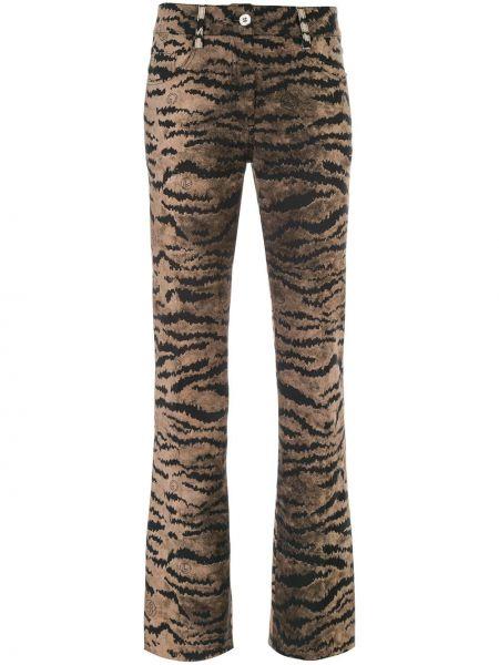 Хлопковые расклешенные коричневые брюки Giambattista Valli