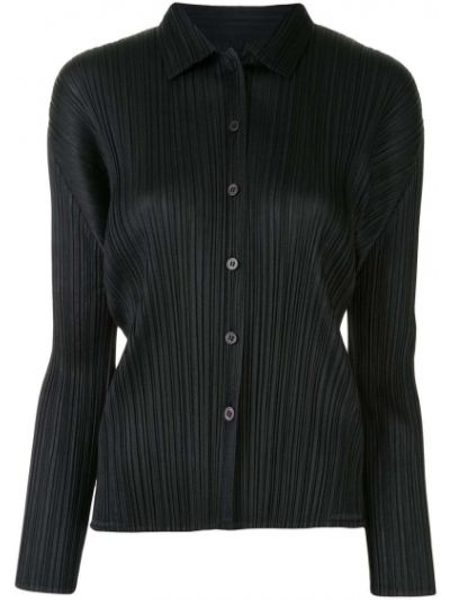 Klasyczna czarna klasyczna koszula z długimi rękawami Pleats Please Issey Miyake