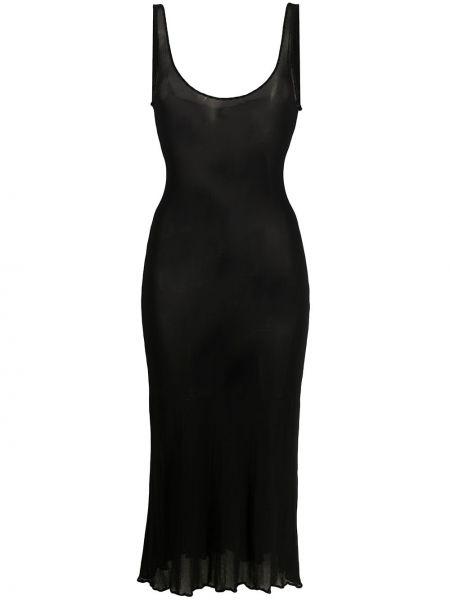 Черное платье миди прозрачное без рукавов с вырезом Jean Paul Gaultier Pre-owned