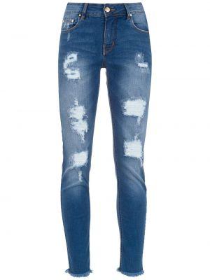 Синие джинсы-скинни с пайетками на пуговицах с поясом Amapô