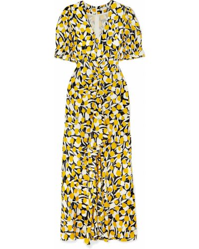 Żółta sukienka z jedwabiu z printem Rixo