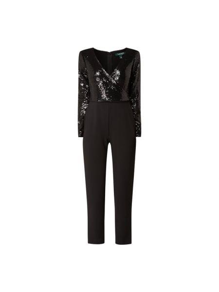 Czarny kombinezon z długimi rękawami z nylonu Lauren Ralph Lauren