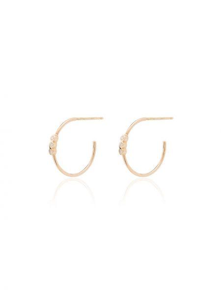 Золотистые желтые серьги-кольца с бриллиантом Zoë Chicco