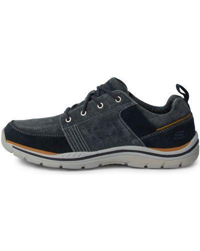 Синие кожаные полуботинки на шнуровке Skechers
