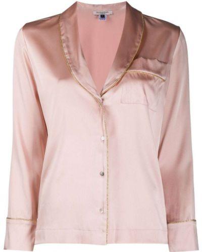 Розовая шелковая пижама на пуговицах Gilda & Pearl