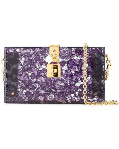 Fioletowa złota sprzęgło na łańcuchu koronkowa Dolce And Gabbana