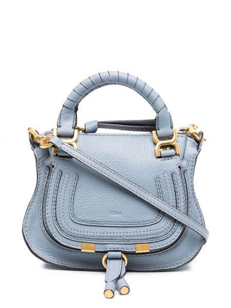 Z paskiem niebieski skórzany torba na ramię Chloe
