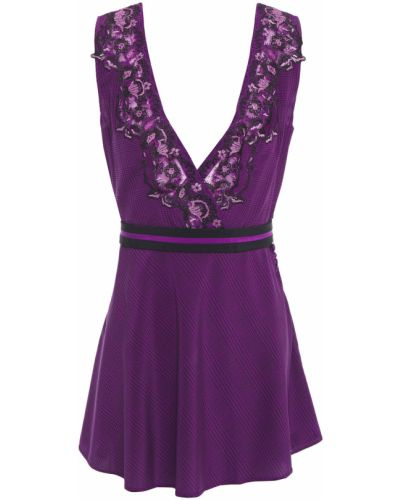 Koszula nocna z haftem - fioletowa La Perla