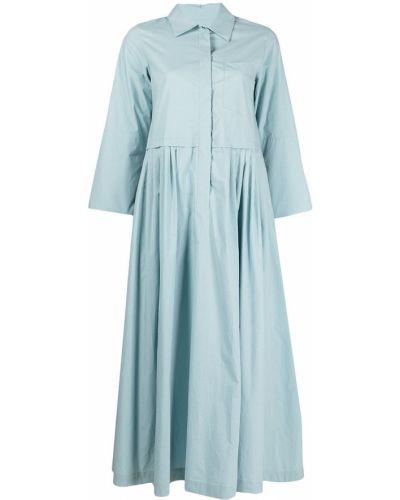 С рукавами синее платье миди с воротником Odeeh