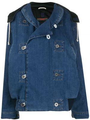 С рукавами синяя короткая куртка с капюшоном Katharine Hamnett London