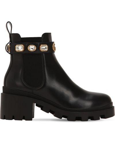 Ботинки на каблуке на каблуке с камнями эластичные металлические Gucci