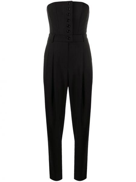 Шелковый черный комбинезон на пуговицах Dolce & Gabbana