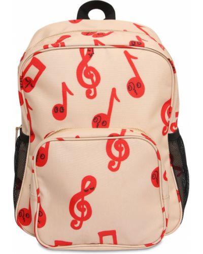 Beżowy plecak na paskach z kieszeniami z siatką Mini Rodini