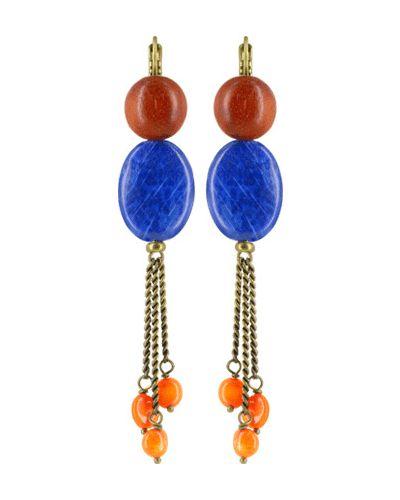 Серьги с камнями - синие Nature Bijoux