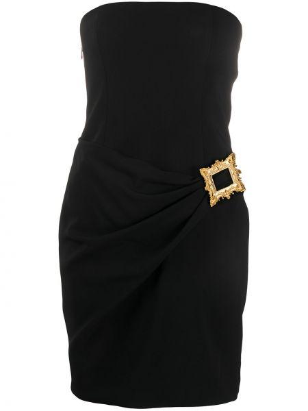 Приталенное черное платье мини без бретелек Moschino