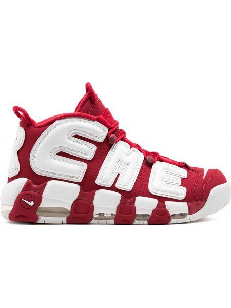 Кожаные кроссовки - красные Supreme