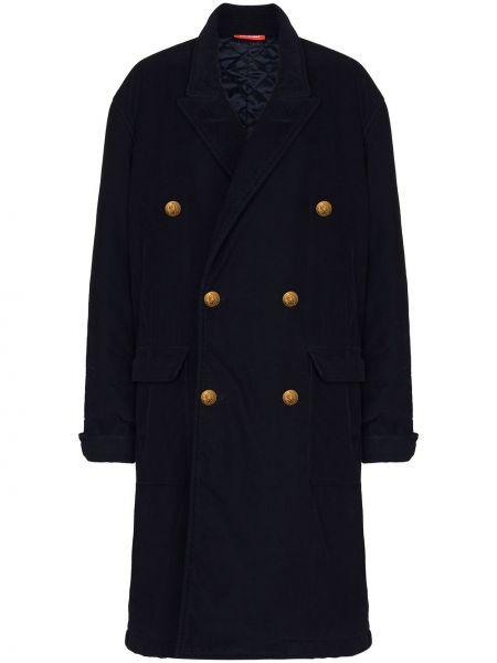 Синее длинное пальто двубортное с карманами Denimist