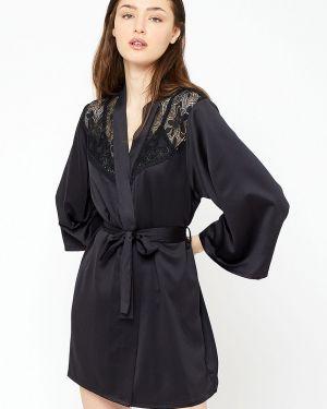 Czarny szlafrok koronkowy materiałowy Etam