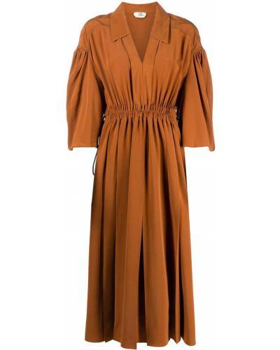 Коричневое шелковое платье миди с поясом Fendi