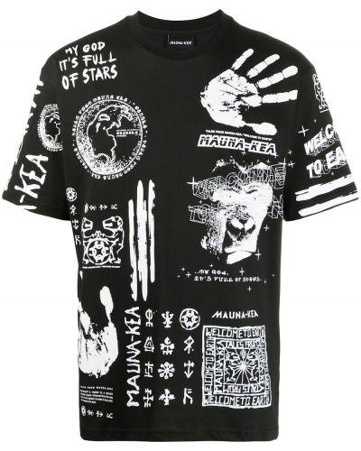 С рукавами хлопковая черная футболка с круглым вырезом Mauna Kea