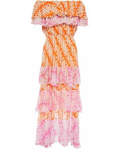 Pomarańczowa sukienka midi z wiskozy Rhode