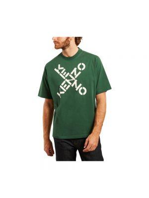 Zielony t-shirt bawełniany oversize Kenzo