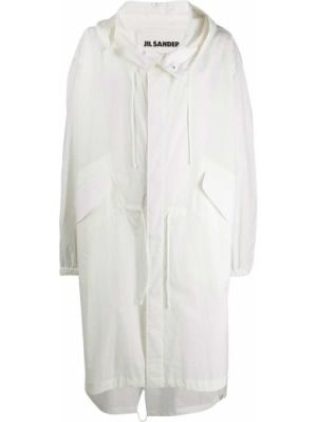 Белое пальто оверсайз с капюшоном Jil Sander