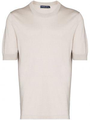 Beżowy t-shirt bawełniany krótki rękaw Frescobol Carioca