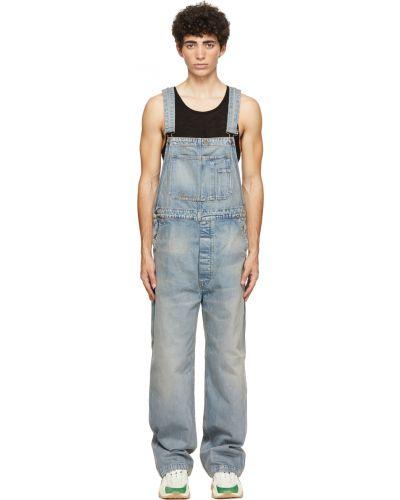 Niebieski kombinezon jeansowy srebrny bez rękawów Amiri