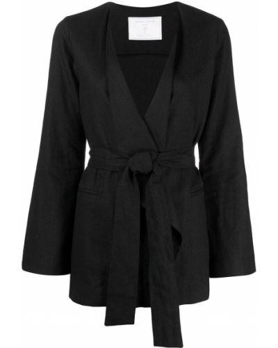 С рукавами черный удлиненный пиджак с поясом SociÉtÉ Anonyme